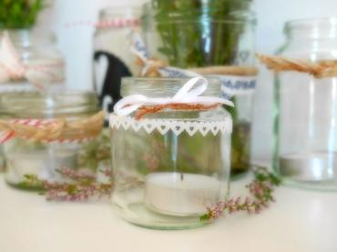 Gläser verzieren mit Dekoband
